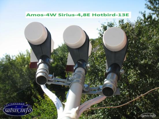 Стандартный пакет каналов без абонплаты Sirius Hotbird Amos. Спутники